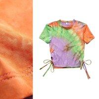 2021 Yeni Tasarım kadın Moda Serin O-Boyun Kısa Kollu Kravat Ölme Degrade Renk Bağlama Kırpma Üst T-Shirt Tees Artı Boyutu Sml