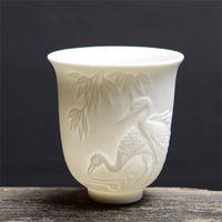 Cups & Saucers Ceramic Dragon Phoenix Teacup Zen Jade Porcelain Water Mug Creative Embossed Small Tea Bowl Birthday Gifts Master Cup Drinkwa