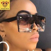 النظارات الشمسية المتضخم ساحة النساء 2021 الأزياء شقة الأعلى الأحمر أسود واضح عدسة قطعة واحدة الرجال gafas الظل مرآة uv400
