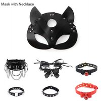 Leather Mask Cosplay for Women Sexy Toy Cosplay Cat BDSM Fetish Halloween Masquerade Masks with Sexy Necklace Erotic Accessories Y0913