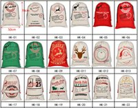 Christmas Halloween Gift Canvas Large Storage Bags Santa Reindeers Drawstring Candy Bag Party Wedding 30 Styles GWF10443