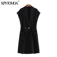 KPYTOMOA Femmes 2020 Mode Office usure Double boutonnage à la ceinture Vintage Vintage Gilet Femme Vêtement extérieur Chic Tops