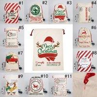 Noël Santa Sans Sacs en coton en toile Grands sacs de cadeaux de cordon de serrage lourds Personnalisé Festival Fête Décoration de Noël