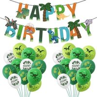 25 unids / set Feliz cumpleaños Decoración Globo Banners Dragon Latex Ballon Dinosaur Theme Party Supplies Kids Child Cumpleaños Favores 210719