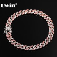 UWIN الرجال النساء سوار 9 ملليمتر مثلج خارج روز الذهب والفضة اللون الكوبي رابط مع الأبيض الوردي مكعب زركونيا أساور مجوهرات 210716