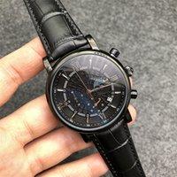 2021 새로운 스타일 럭셔리 남성 시계 40mm 다이얼 블랙 가죽 스트랩 남성 시계 Transocean Chronograph Quartz 시계