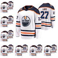 74 Ethan Bär Edmonton Öler White 40. Jubiläum Jersey Leon Draisaitl Connor McDavid Oscar Klefbom 93 Hopkins Milan Lucic Anton Forsberg Hockey Trikots