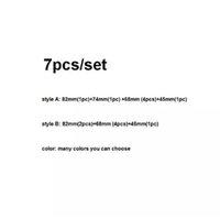 7pcs / Set 82mm Emblema anteriore + 74mm Distintivo posteriore + 68mm (4pcs) Tappi centrali per ruote + 45mm Adesivi volante blu / nero bianco