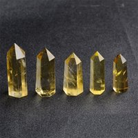 Schlussverkauf! Natürlicher Citrin-Quarz-Kristall-Zauberstab-Punkt Reiki heilende natürliche Steine und Mineralien als Geschenk Freies Verschiffen 596 S2