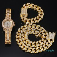 Hip Hop Bling Jewelry Mens Necklace Iced Out Diamond Miami Cuban Link Chain Gold Silver Watch Necklaces Bracelet Set