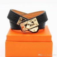 15mm Luksusowy mankiet ze stali nierdzewnej BraceletsBangles Nadgarstek PU Leather Bransoletki Classic Original Charm Bransoletki
