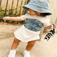1- 6T Baby Girl Dress, Fashion Denim Vest, Short Sleeve Loose...