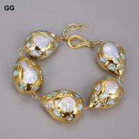 Guaiguai المجوهرات الطبيعية الأبيض عملة اللؤلؤ المياه العذبة الأزرق لاريمار رقائق تمهيد الذهب اللون مطلي التفاف سوار للنساء سيدة هدية