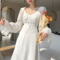 Casual Dresses Vintage Fairy Dress Women Elegant Designer Chiffon Long Sleeve French Party Midi Women's Clothing Autumn 2021