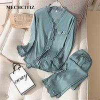 Mechcitiz Pijamas Cetim Mulheres 2 Pcs Sleep Sleep Sexy Sleepwear Calças Outono Silk Pijama Set Satin Kimono Rouphrobe Sexy Nightwear 211007