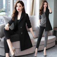 Frauenanzüge Blazer Yasuguoji 2021 Mode Frau Dame Anzug Büro Unregelmäßigkeit Patchwork Zwei Stücke Hose Für Frauen Koreanisches Set