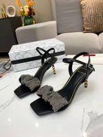 Luxus Casual High Heels Kleid Schuhe und Strass Sandalen Frauen Leder mit Box Gute Qualität Größe 35-39