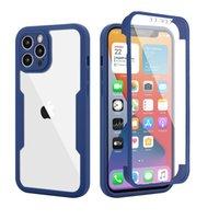 360 Full Body Clear Transparent Acrylic Cases voor iPhone 13 12 Mini 11 PRO MAX XS XR X 6 7 8 Plus Samsung A32 A52 A72 5G Dual Layer Beschermhoes met PET-schermbeschermer