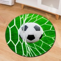 Carpets 3D Polyester Anti Slip Ball Round Fluffy Carpet Computer Chair Pad Football Soccer Basketball Living Room Mat Kids Bedroom Rugs
