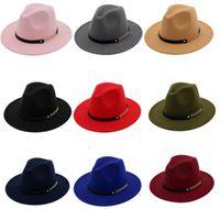 Moda Top Sombreros Para Hombres Mujeres Moda Elegante Fieltro Sólido Field Fedora Hat Banda Ancho Piso Brim Jazz Sombreros Elegante Trilby Panamá