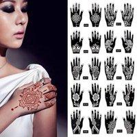 2pcs / 세트 임시 문신 스텐실 25 디자인 바디 아트 남성 여성 인도 헤나 패턴 아름다움 방수 가짜 팔 손 재사용 Tatoo