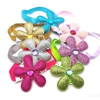 Dog Apparel 50 100 Pc Accessories Sequin Flower Style Dogs Pet Bow Tie Necktie Adjustable Puppy Collar Bowties Supplies