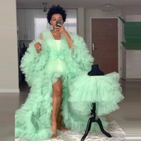 Mint Green Tulle Prom Dresses Robes Full Sleeves Tiered See Through Maternity Photoshoot Dress For baby Shower Illusion Evening Gowns