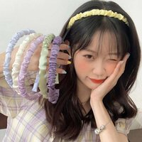 Hair Accessories Satin Pleated Bezel Hairband For Women Solid Color Bands Fashion Elastic Headband Retro Hoop Female