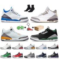 Nike Air Jordan 3 Retro 3 3s Stock x 2020 مع صندوق Jumpman 3 3S أحذية الرجال لكرة السلة الحريرالأردنريترو الليزر أورانج UNC الأحمر أسمنت الأزرق سول رجل مدرب حذاء رياضة