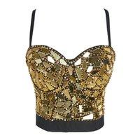 Atoshare Seksi Kadınlar Gümüş Altın Pullu Rhinestone Üst Lady Rave Kıyafet Inci Glitter Tops Büstiyer Kadın Korse Kırpma Üst Strass 210316