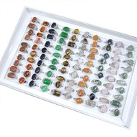 Mix Lot Natural Stone Rings Women's Ring Fashion Jewelry Bague 100 Pieces   Lot