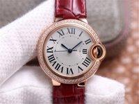 여성 시계 차원 33mm 47 밝은 컷 라운드 다이아몬드 사파이어 크리스탈 미러 가죽 시계 밴드 자동 기계식 운동 V6 고급 시계