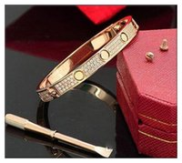 Forme en acier inoxydable en acier inoxydable de diamant Femme Femme Glaced Out Bracelets Bangles Bangles Tournevis Bijoux Bracelet 2021