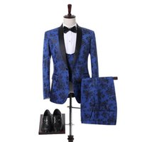 Men's Suits & Blazers JELTOIN Real Po Designs 2022 White Blue 3 Piece Set Suit Men Formal Tuxedo Wedding Party Prom Dress Jacket Vest Pant