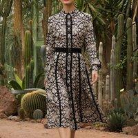 Casual Dresses 2021 Fall Runway Style Bohemian Retro Ethnic Print Lace Long Sleeve Belt Single Breasted Mid-Length Shirt Dress