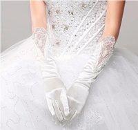 Bridal Gloves Promotional Uniform Wedding All Fingers Long Satin Opera Bride Dress Accessories White