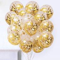 Dorado confeti Látex Globos Glitter Borde Transparent Helium Ball Baby Shower Boda Decoraciones de fiesta de cumpleaños 500pcs