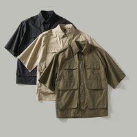 Camicie casual da uomo 2104 Arrivo Estate Uomo Giapponese Cargo Camicia Cotone Trend Arsajuku Style Solid Color Risvolto multi-tasca Streetwear maschio