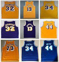 Herren Sport Vintage 73 # Rodman Shaquille # 34 o Neal Jersey # 32 Johnson Jersey lila gelb 13 # Wilt Chamberlain Jerry 44 # West Jerseys Shirt