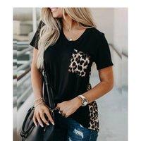 Femmes Mode T-shirts Casual à manches courtes Casual Nouveau T-shirt Lâche Léopard Couture Stitching Tricoté Dech Summer Summer Hot 2021