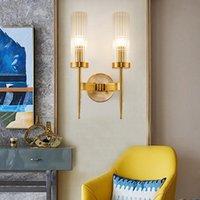Beiaidi 미국 황금 유리 Led 벽 램프 E27 거실 호텔 프로젝트 벽 조명 Sconces 포스트 현대 침실 침대 옆 램프