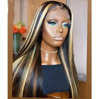 Synthetic Wigs 150% Density Highlight Color Long Straight Hair Transparent Lace Front Wig With Preplucked Baby For Black Women