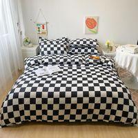Bedding Sets Fashion Black And White Plaid Print Style 3 4pcs Set Kid Adult Bed Linings Duvet Cover Sheet Pillowcase Home Textile