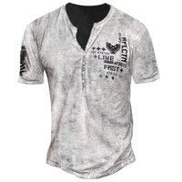 Кильцевая мужская кнопка футболки высокое качество комфортабельный модный роман красивый с коротким рукавом вечеринка верхняя улица V-образным вырезом