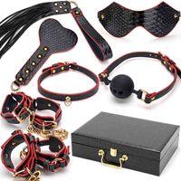 Blackwolf PU cuero bdsm kits lecho esclavo bondage restricción conjunto erótico manos collar gag látigo adulto sexo juguetes para mujeres parejas K822