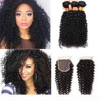 몽골 킨키 곱슬 처녀 머리카락 3 묶음 1 레이스 폐쇄 100 % 브라질 페루 말레이시아 인도 변태 곱슬 인간의 머리카락 Closu