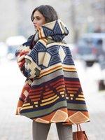Women's Wool & Blends Korean Style Warm Hoodie Cloak Coat Patchwork Color Drop-Shoulder Sleeve Cape Outerwear Women Winter