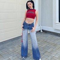 Frauenhose Capris Herbst Damen-Gradienten drucken Casual Straight-Bein Jeans, Frauenhosen, Frauenkleidung, Traf