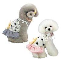 Hundebekleidung charmant Haustier Frühling Sommer Sling Rock, große Sonnenblume auf dem Rücken, klassische Streifen Saum, kleine mittelgroße Hunde ärmelloses Kleid