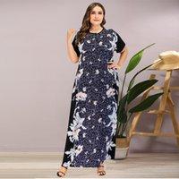 Siskakia плюс размер платье лето элегантный старинный принт Maxi длинное платье O шеи с коротким рукавом темно-синие женщины одежда большой размер 210315